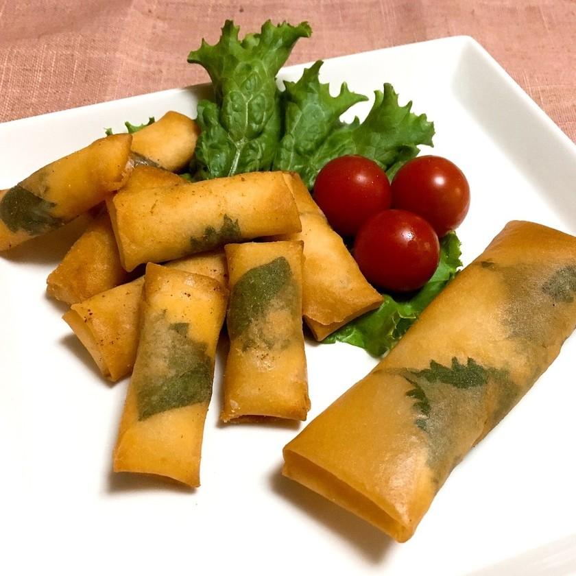 大葉とチーズと鶏ササミdeミニ春巻き♡