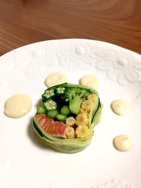 簡単 綺麗なサーモンと夏野菜のテリーヌ