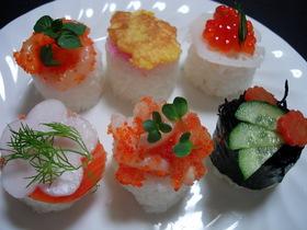 ひな祭りの飾り寿司(ひじきの金平寿司)③