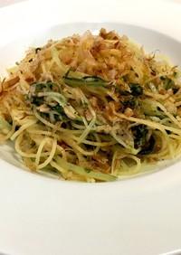 水菜とツナのパスタ