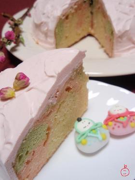 ひな祭りに♪三色マーブルデコケーキ♪