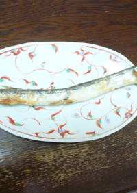 釣ったサヨリの塩焼き