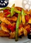 彩り野菜と鶏むね肉のガリマヨ炒め
