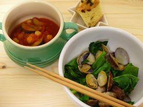 ひよこ豆なすびのトマトスープ