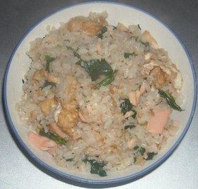 油揚げ&野沢菜漬け&焼き鮭ご飯