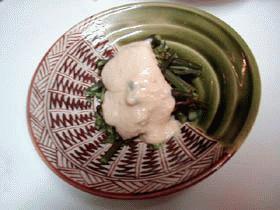 ワラビのごま味噌クリーム