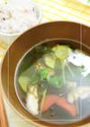 夏野菜ともずくのさっぱり和スープ