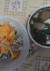簡単カニ玉と簡単スープ