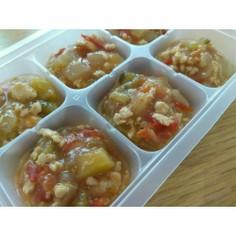 離乳食後期、完了期 鶏肉と野菜のトマト煮