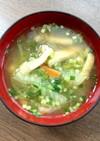 とうもろこしのひげ&白菜&油揚げの味噌汁