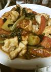 トマトと鶏肉の野沢菜炒め