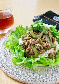 四川風☆ゴーヤの肉味噌あん素麺