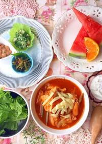 トマト鍋とネバネバおかず 糖質制限朝食