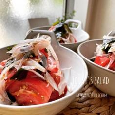 トマト☆わかめ☆玉ねぎの中華サラダ♪♪