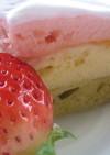 ホットケーキミックスで菱餅型ケーキ