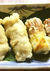秘伝豆と葉唐辛子の豚肉巻きの天ぷら