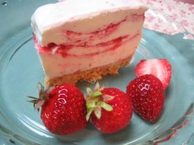 春待ち♪いちごマーブルのレアチーズケーキ