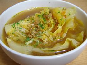 ミートソースの残りで☆キャベツスープ