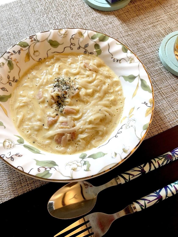 糖質0麺!カルボナーラ風スープ麺☆