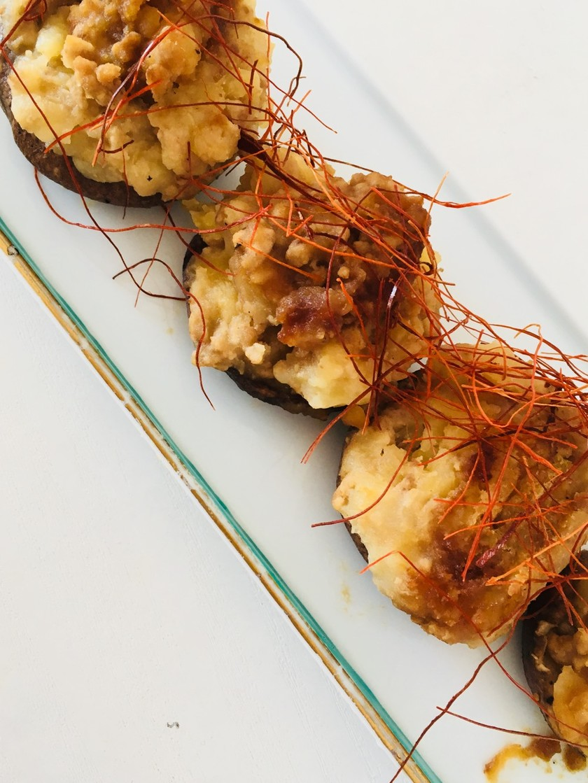 椎茸のポテトそぼろ詰♡