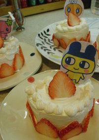 スイスロールで簡単イチゴケーキ