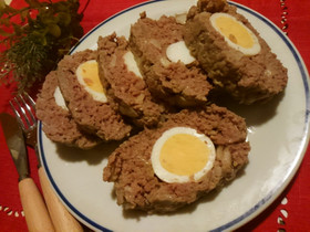 レンジだけで簡単!ゆで卵入りミートローフ