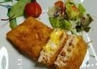 チーズを挟んだサーモンフライ