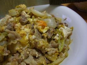 カツオが効いてる♬豚と白菜の炒めモノ。