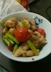 鶏トマトアスパラのオリーブオイル炒め