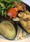 素麺と夏野菜と梅肉あっさりペペロンチーノ