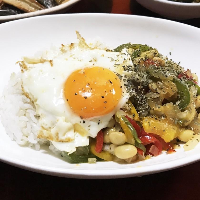 大豆の水煮で簡単ガパオライス