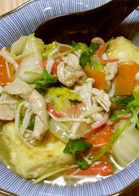 揚げ出し豆腐の季節野菜中華あんかけ