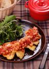 鶏むね肉のピカタ☆根菜トマトソース