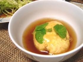 お豆腐と鶏そぼろのレンジ茶巾