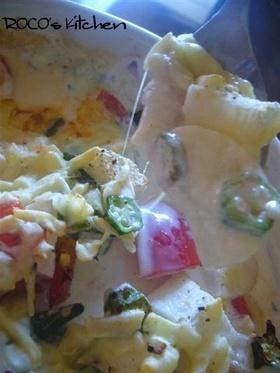 山芋とオクラで、トロトロ焼き グラタン