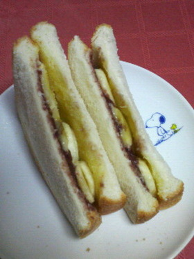あんマーガリン&バナナのトーストサンド♪