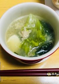【包丁要らず】レタスと豆腐の卵スープ
