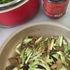 ブロッコリーの茎とザーサイの炒め物