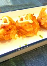 マフィン型でポテトベーコンのチーズ焼き