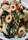 3種の天然キノコ、野菜、ちくわの油炒め