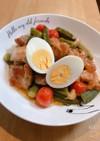 鶏肉オクラプチトマト焼き肉のタレ煮込み