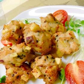 さつま芋と鶏ひき肉の落とし揚げ(^ー^)