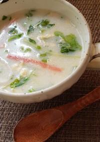 豆苗レタスカニカマの中華風卵ミルクスープ