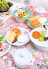 パンプキンコーンスープと焼きドーナツ朝食