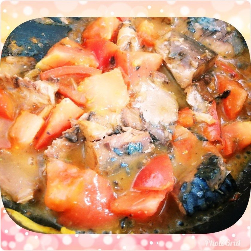 鯖の味噌煮缶とトマトのバター炒め♪時短!