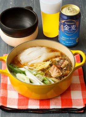 いわし缶と大根とねぎの簡単鍋