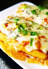 フライパンで厚揚げピザ!キムチチーズ焼き