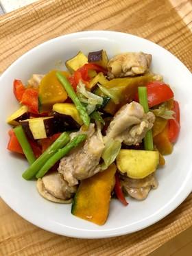 鶏肉と野菜のにぎやか塩炒め