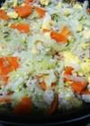 親子で食べる☆キャベツと鶏挽肉の中華炒め