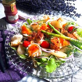 梨と鶏肉のカシスマスタードサラダ
